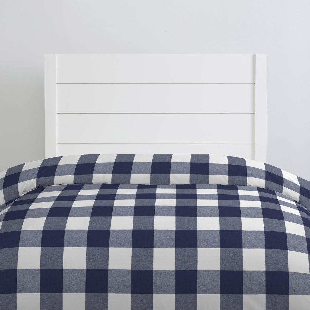 Navy Buffalo Check Twin Duvet Cover - Project Nursery