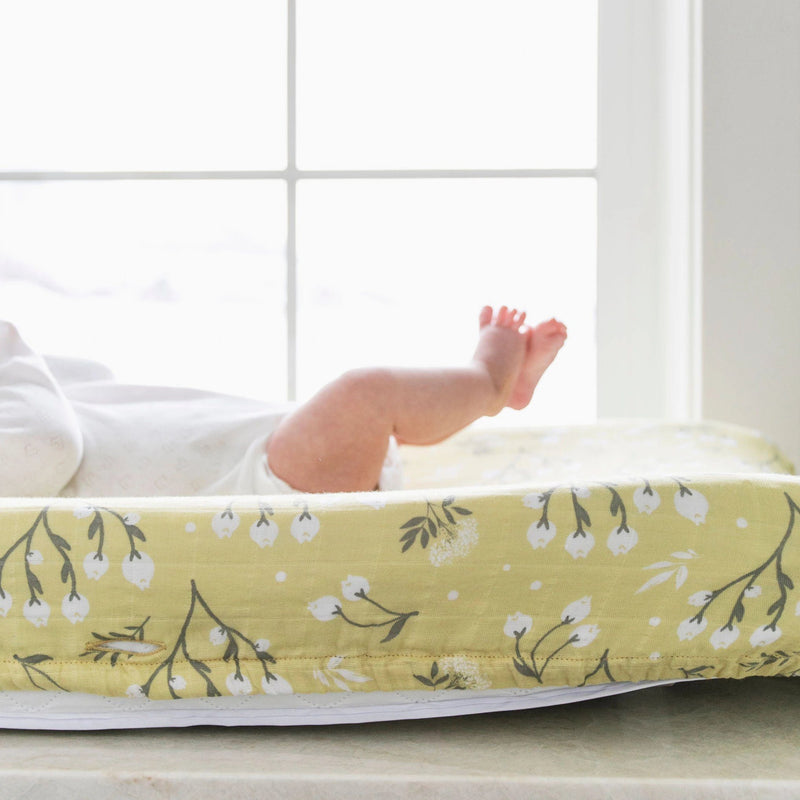 Yellow Buds Cotton Muslin Changing Cover - Project Nursery