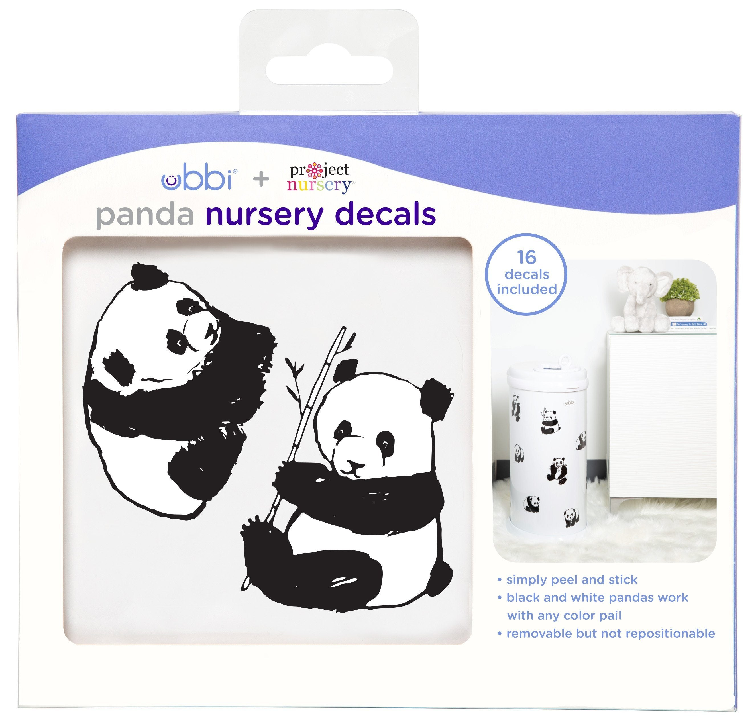 PN x Ubbi Diaper Pail Decals - Panda - Project Nursery