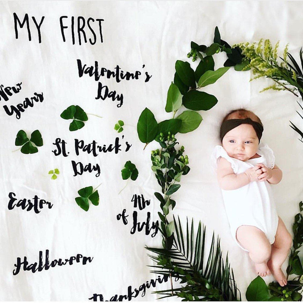 """My First"" Holiday Cotton Muslin Swaddle Blanket  - The Project Nursery Shop - 2"