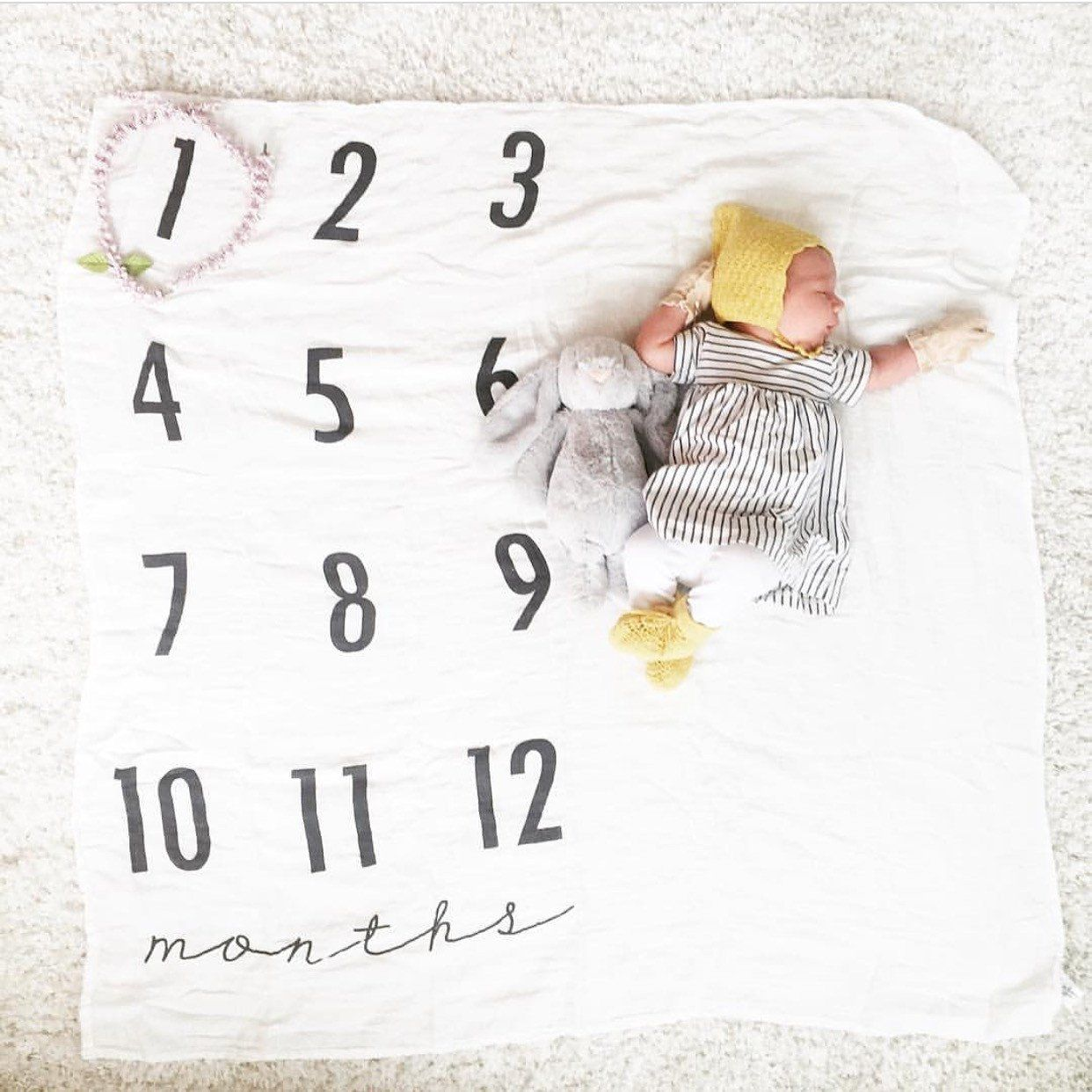 Monthly Milestone Cotton Muslin Swaddle Blanket