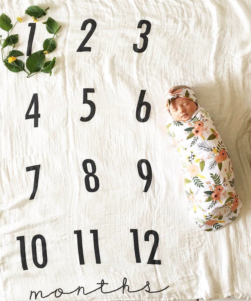 Monthly Milestone Cotton Muslin Swaddle Blanket  - The Project Nursery Shop - 4