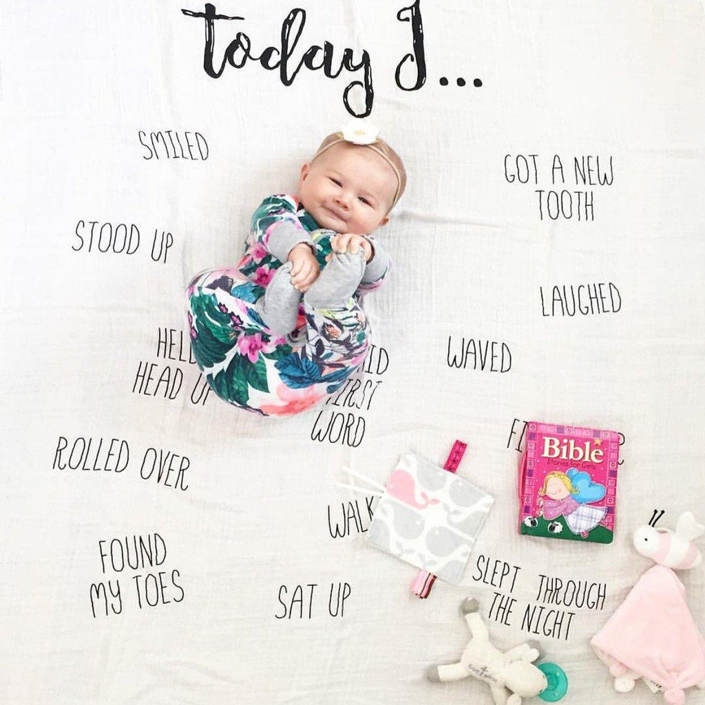 """Today I"" Cotton Muslin Swaddle Blanket  - The Project Nursery Shop - 2"