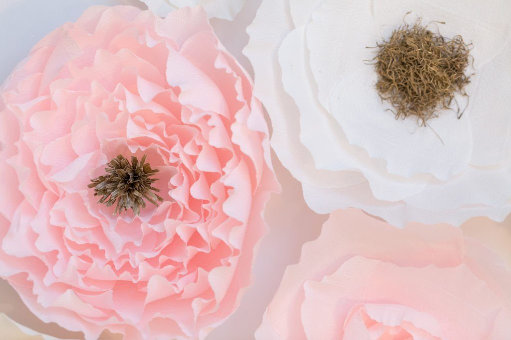 Blush Pink Crepe Paper Wall Flowers