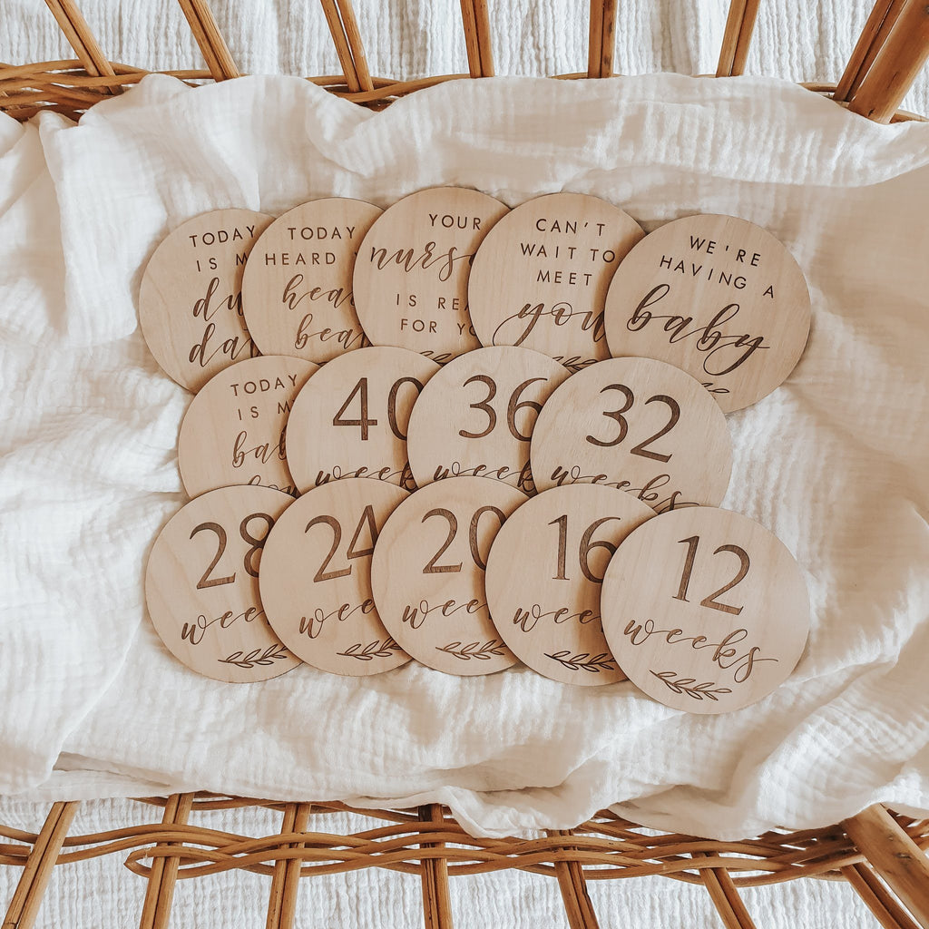 Etched Wooden Pregnancy Week Milestone Disc Collection - Project Nursery