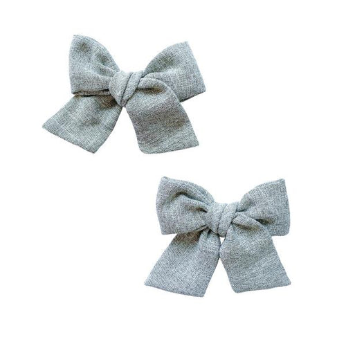 Grey Tweed Bow Clip Set - Project Nursery