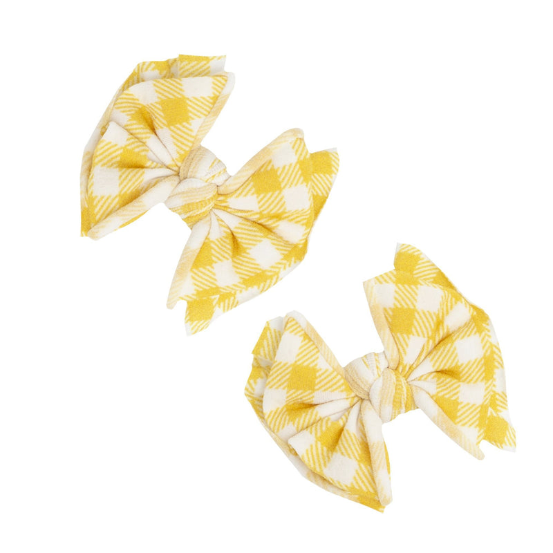Mustard Gingham Printed Bow Clip Set - Project Nursery