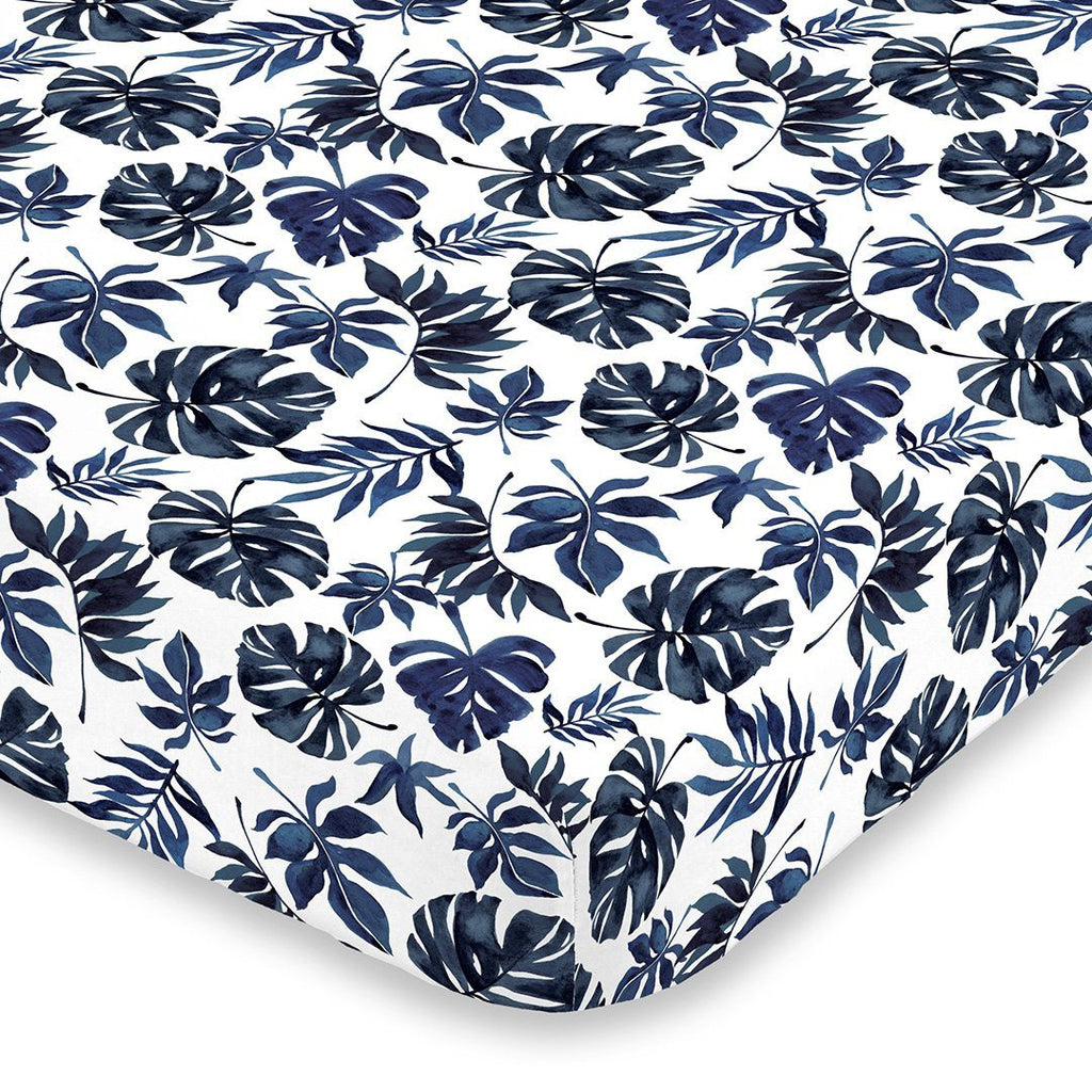 Blue Palm Leaf Crib Sheet - Project Nursery
