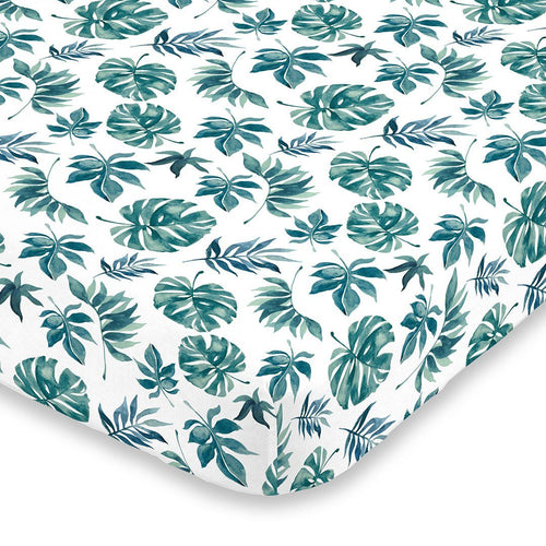 Green Palm Leaf Crib Sheet - Project Nursery