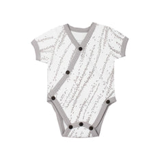 Organic Short-Sleeve Kimono Bodysuit - Light Gray Willow - Project Nursery