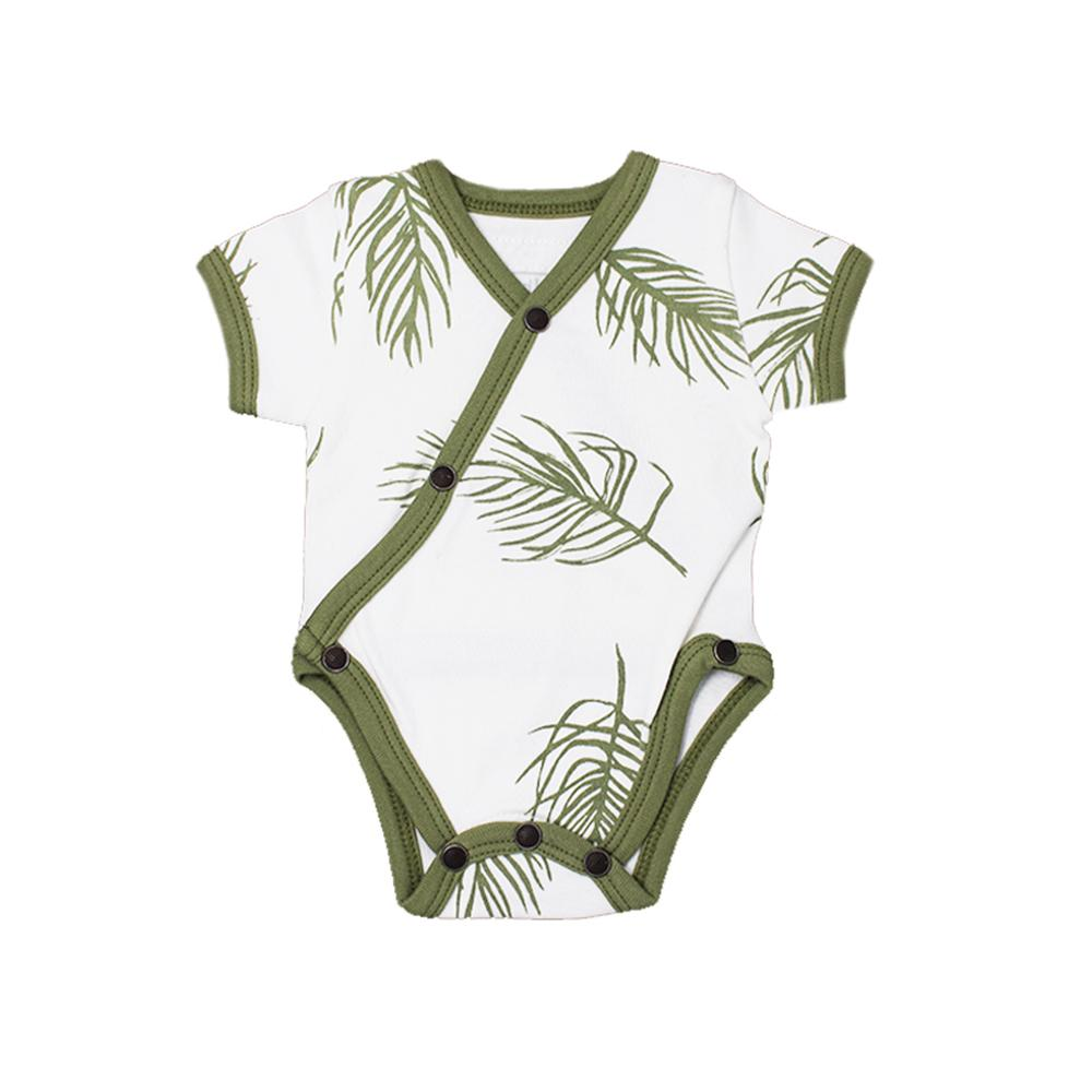 Organic Short-Sleeve Kimono Bodysuit - Sage Palm - Project Nursery