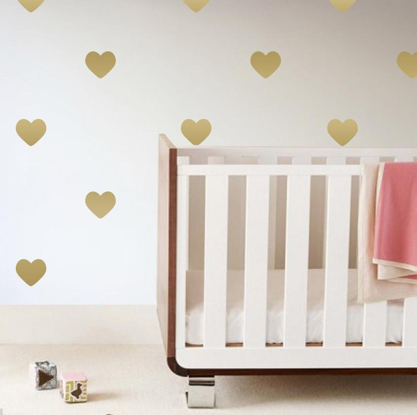 Heart Wall Decals Metallic Gold - The Project Nursery Shop - 1