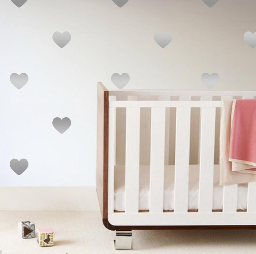 Heart Wall Decals Metallic Silver - The Project Nursery Shop - 2