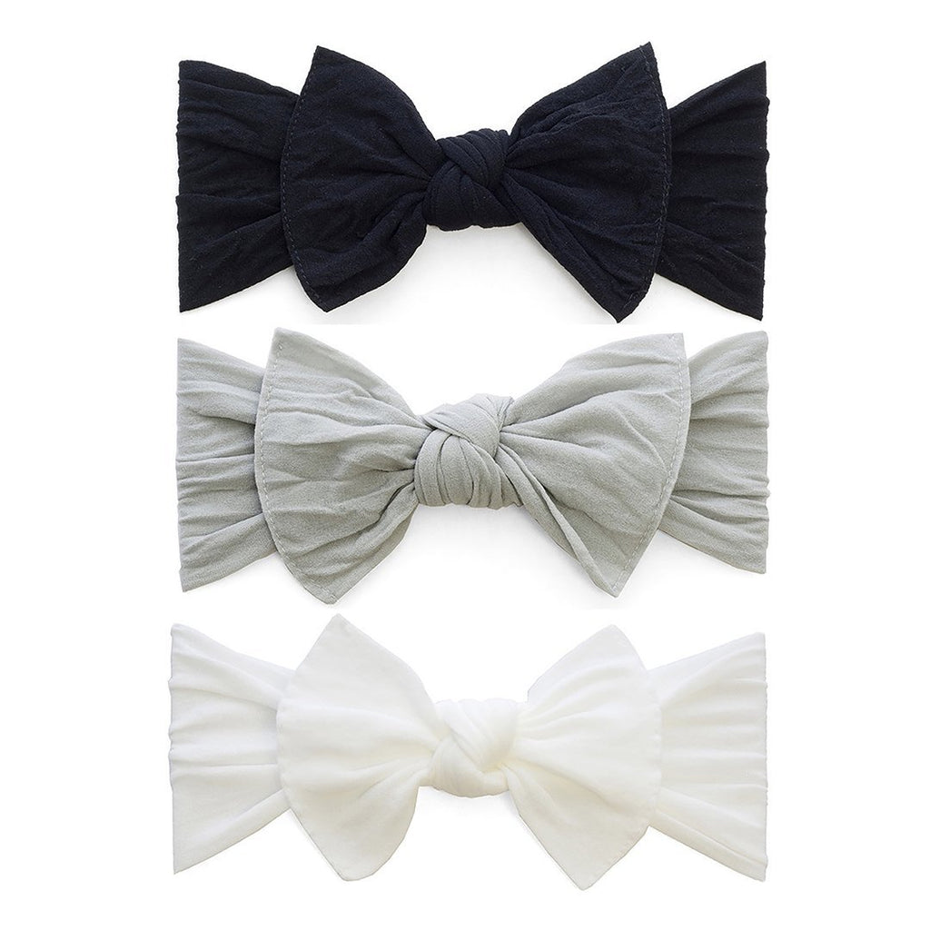 3-Piece Knot Headband Set - Black + White + Gray - Project Nursery