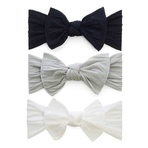 3-Piece Black, White, Grey Knot Headband Set - Project Nursery