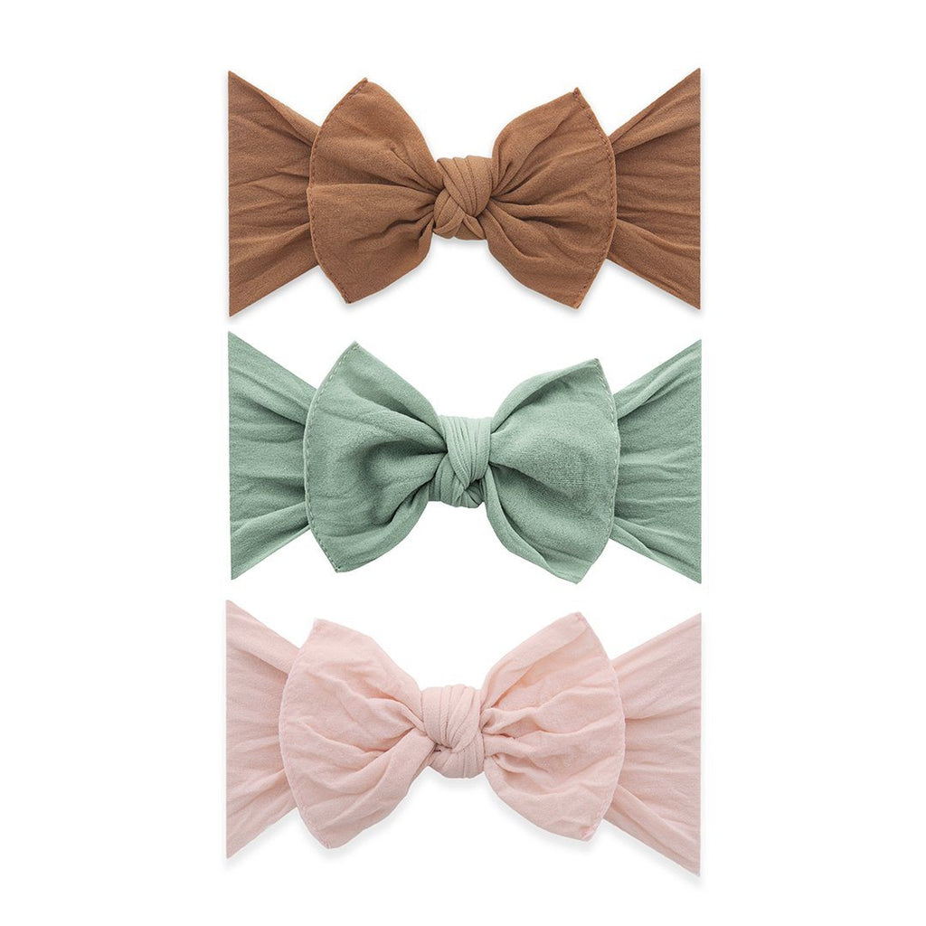 3-Piece Knot Headband Set - Camel + Sage + Petal - Project Nursery