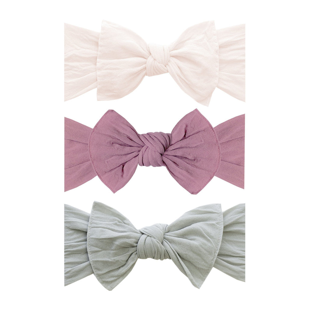 3-Piece Knot Headband Set - Ballet Pink + Mauve + Grey - Project Nursery