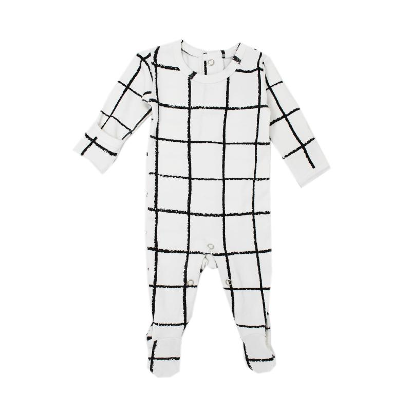 Organic Back-Snap Footed Overall - Hopscotch - Project Nursery