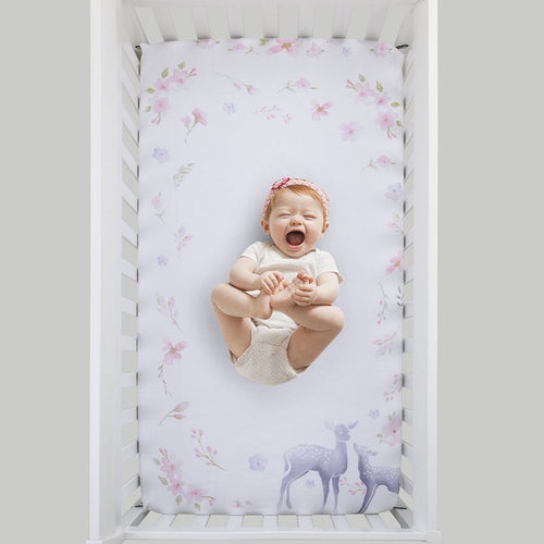 Watercolor Deer Crib Sheet - Project Nursery