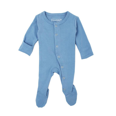 Organic Thermal Footed Overall - Azure