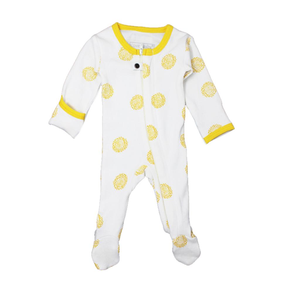 Organic Zipper Footed Overall - Yellow Sunflower - Project Nursery