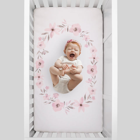 Pink Roses Photo Op Crib Sheet