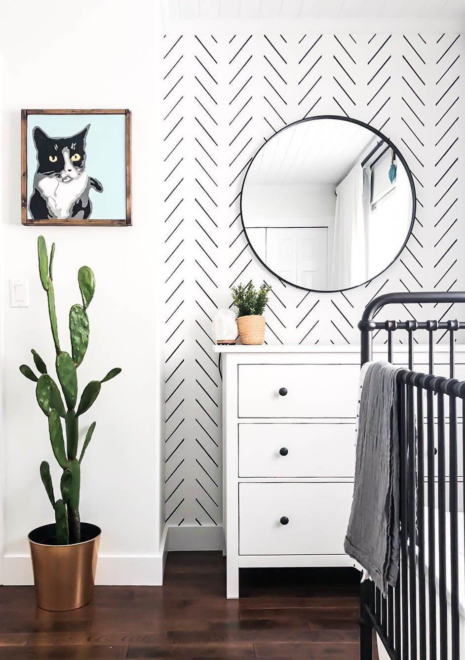Black Delicate Herringbone Wallpaper - Project Nursery