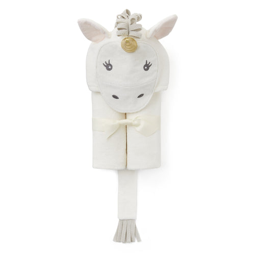 White Unicorn Hooded Baby Bath Wrap - Project Nursery