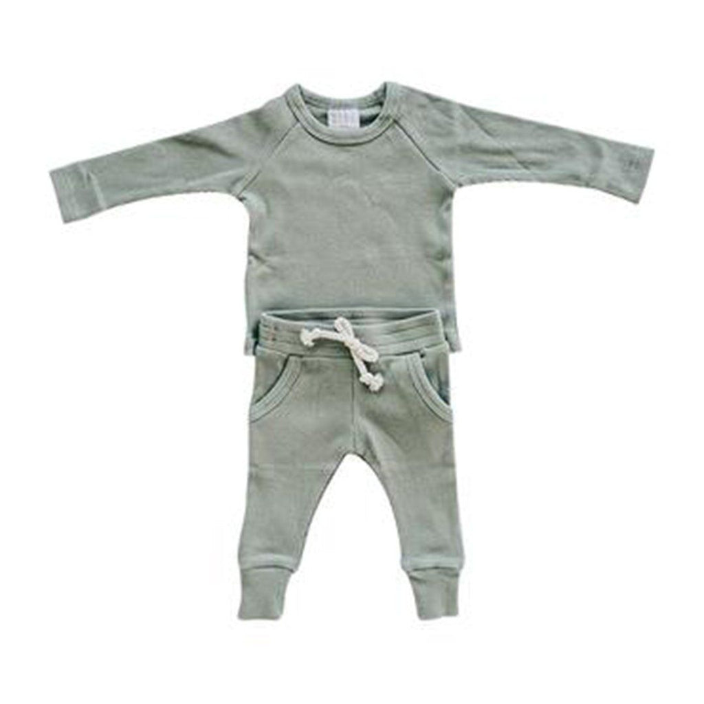 Organic Cotton Green Ribbed Two-piece Pocket Set - Project Nursery