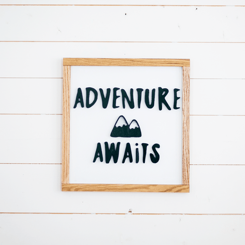 Adventure Awaits Wooden Sign - Multiple Colors - Project Nursery