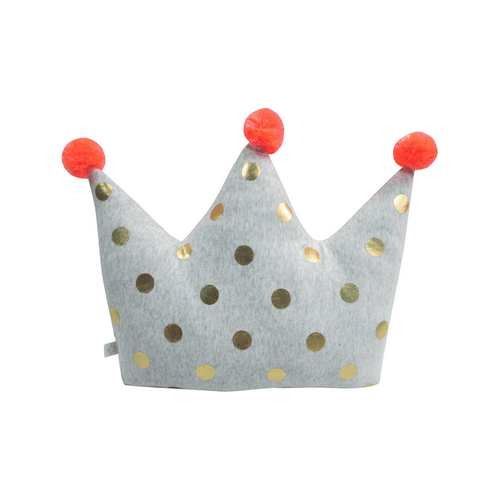 Decorative Crown Pillow with Pom Poms - Project Nursery