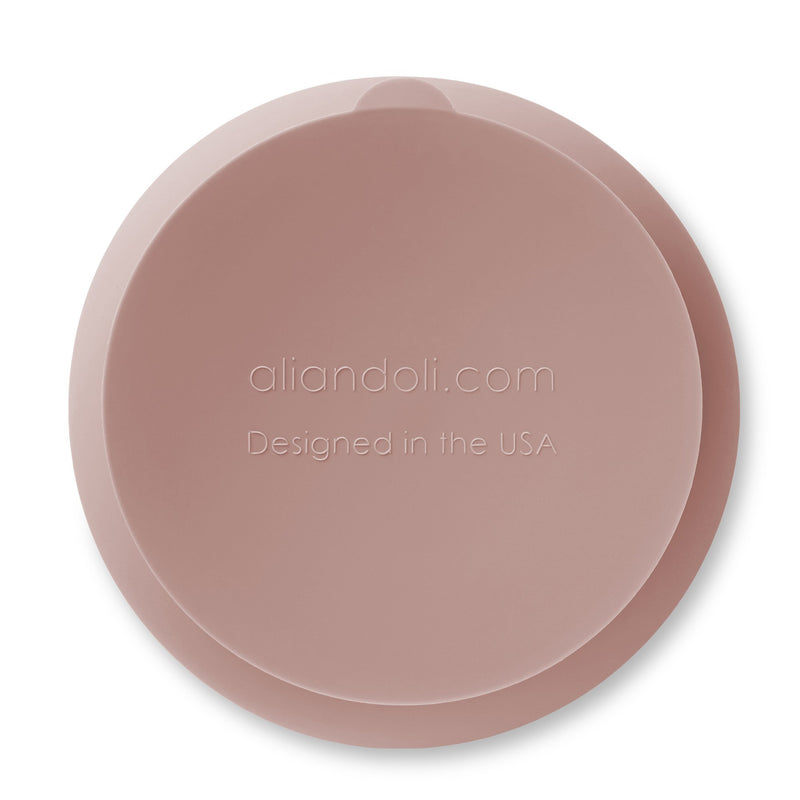 Suction Bowl & Spoon Set - Blush Wavy - Project Nursery