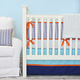Aqua and Navy Mod Mix 3pc Crib Set  - The Project Nursery Shop - 1