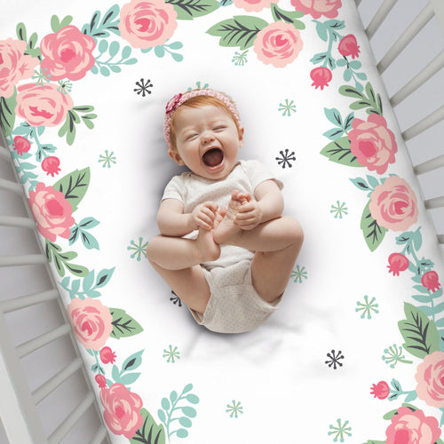 Pink Roses Photo Crib Sheet - Project Nursery