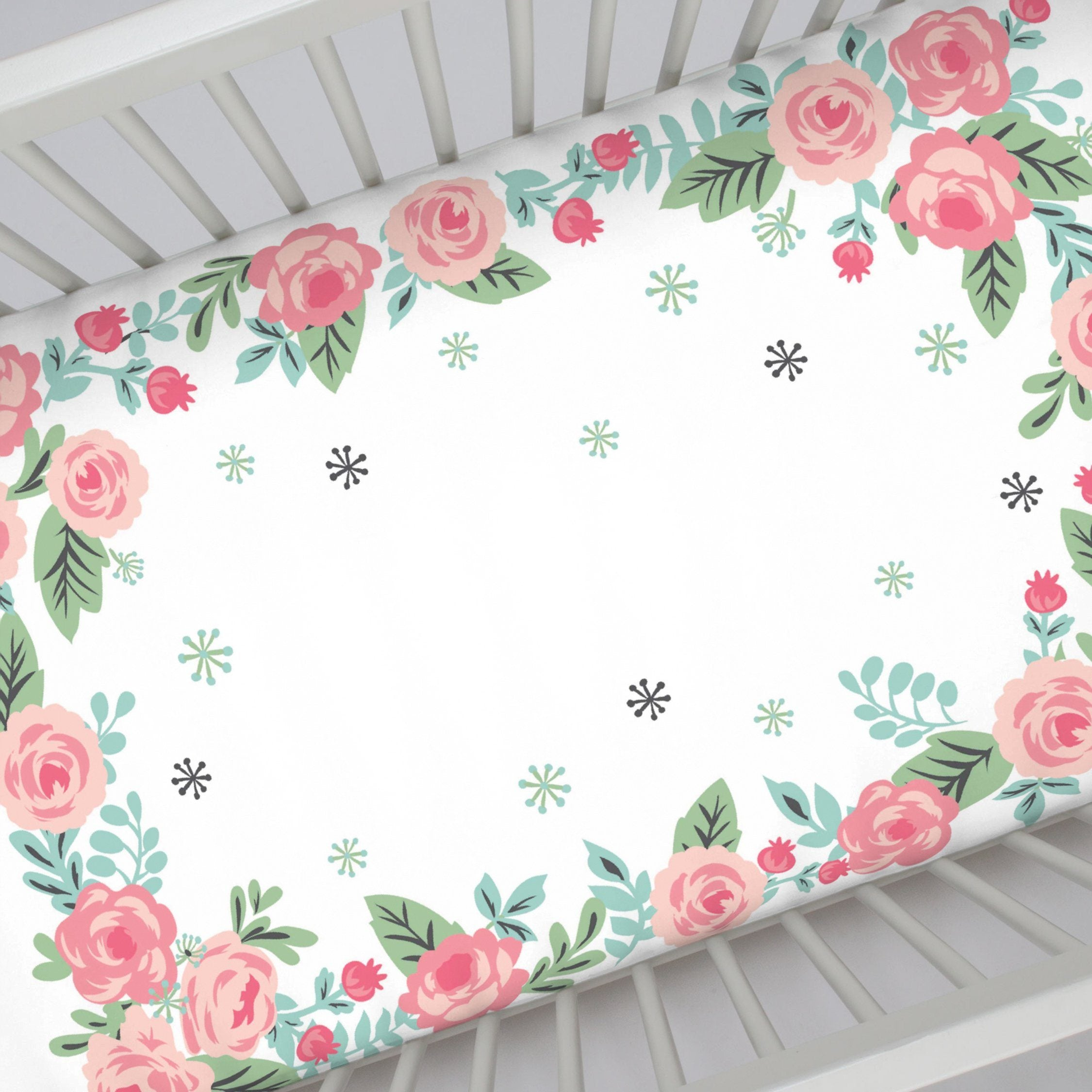 Pink Roses Photo Op Crib Sheet - Project Nursery