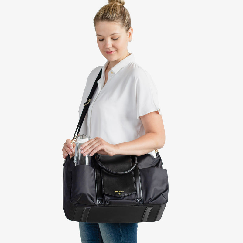 Peek-a-Boo Satchel Diaper Bag - Black - Project Nursery