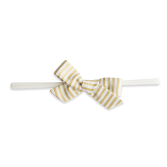 Gold Stripe Cotton Bow Headband - Project Nursery