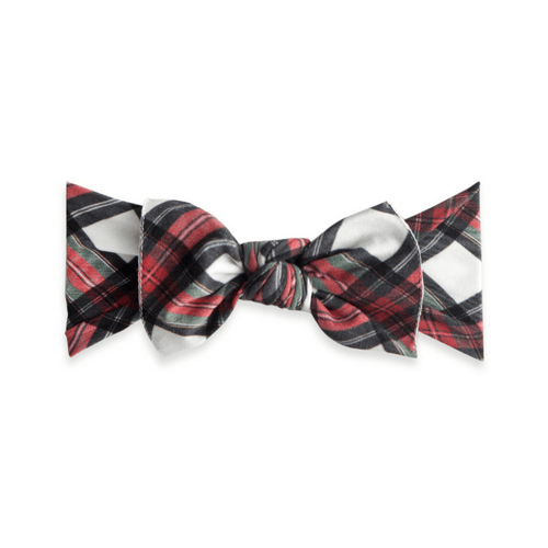 White Tartan Plaid Printed Knot Headband - Project Nursery