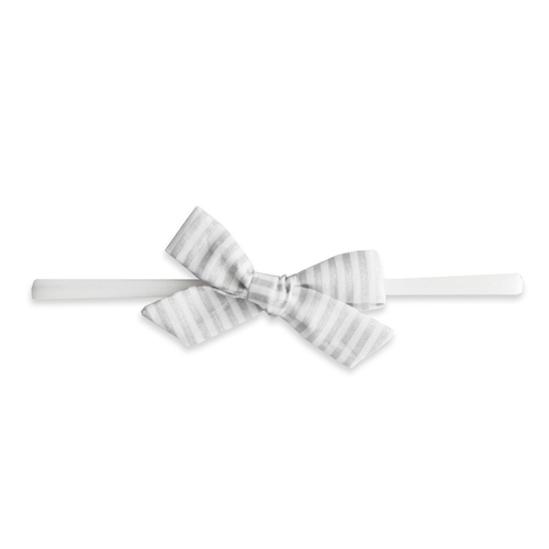 Silver Stripe Cotton Bow Headband - Project Nursery