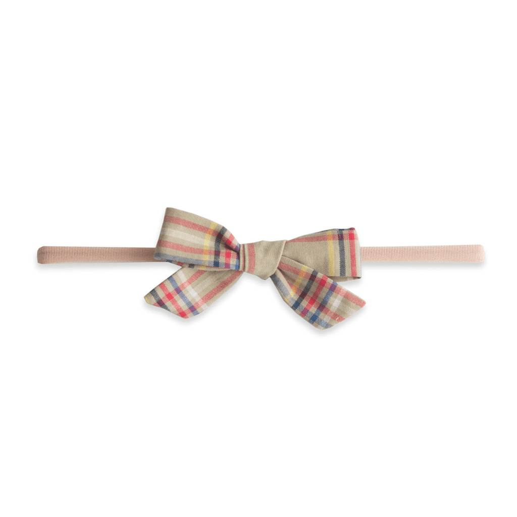 Tan Plaid Cotton Bow Headband - Project Nursery