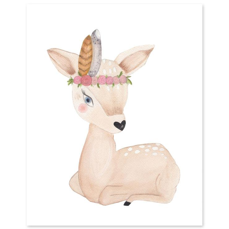 Floral Fawn Print  - The Project Nursery Shop