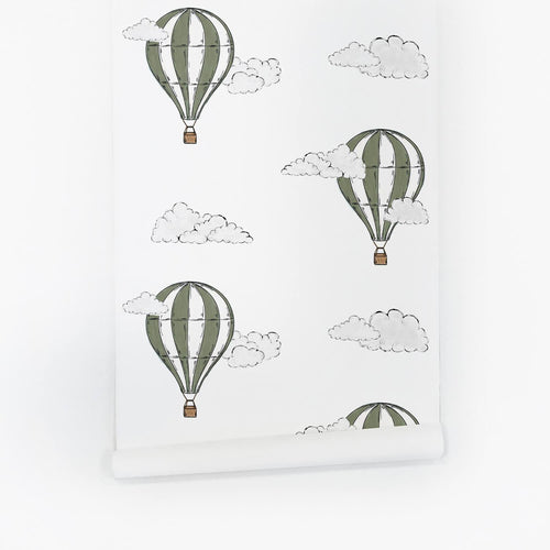 Khaki Green Air Balloon Wallpaper - Project Nursery