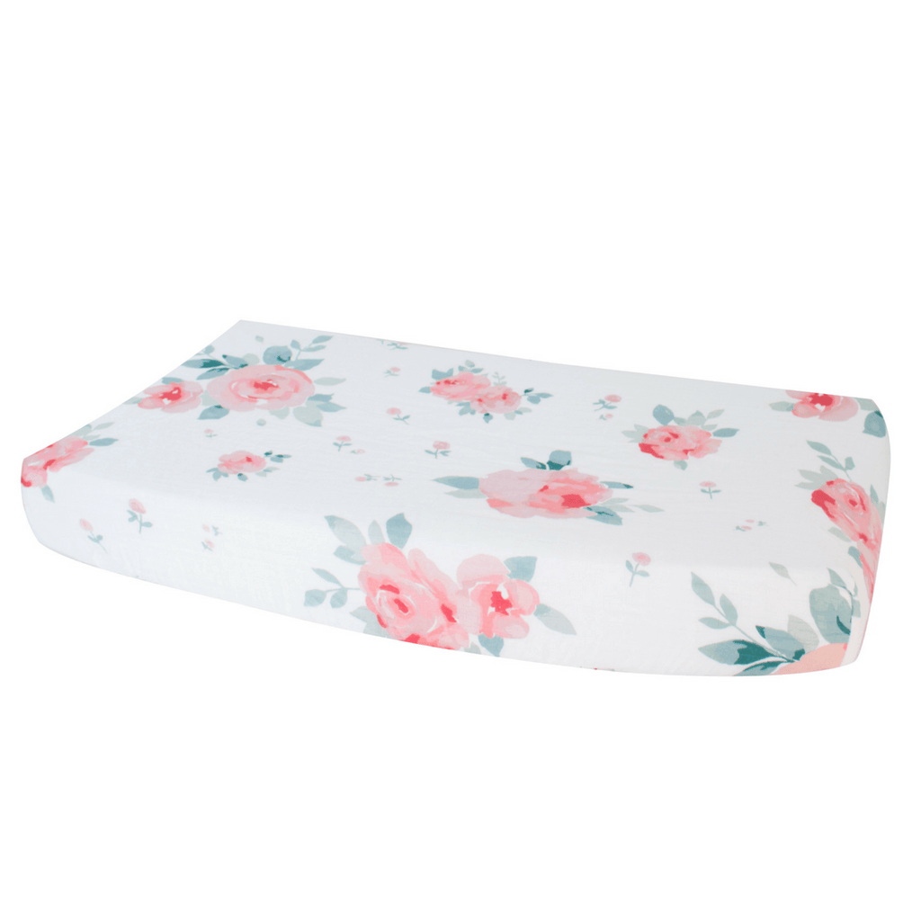 Rosy Luxury Muslin Changing Pad Cover - Project Nursery
