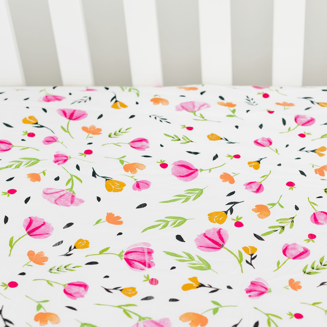 Percale Crib Sheet in Berry and Bloom - Project Nursery