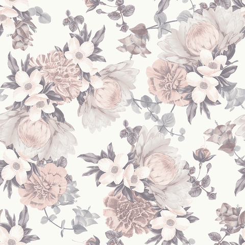 Black + White Floral Wallpaper