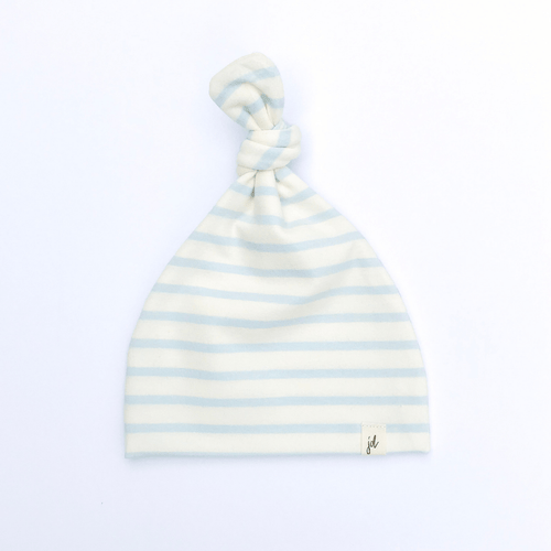 Blue Stripe Top Knot Hat - Project Nursery