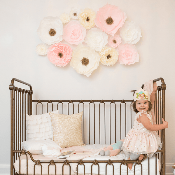 Blush Pink Crepe Paper Wall Flowers Project Nursery