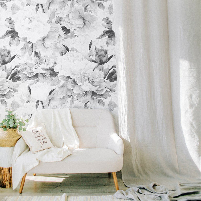 Gray Peony Wallpaper - Project Nursery