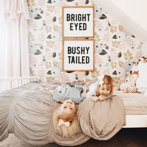 Bright Eyed + Bushy Tailed Wooden Sign Set - Multiple Colors - Project Nursery