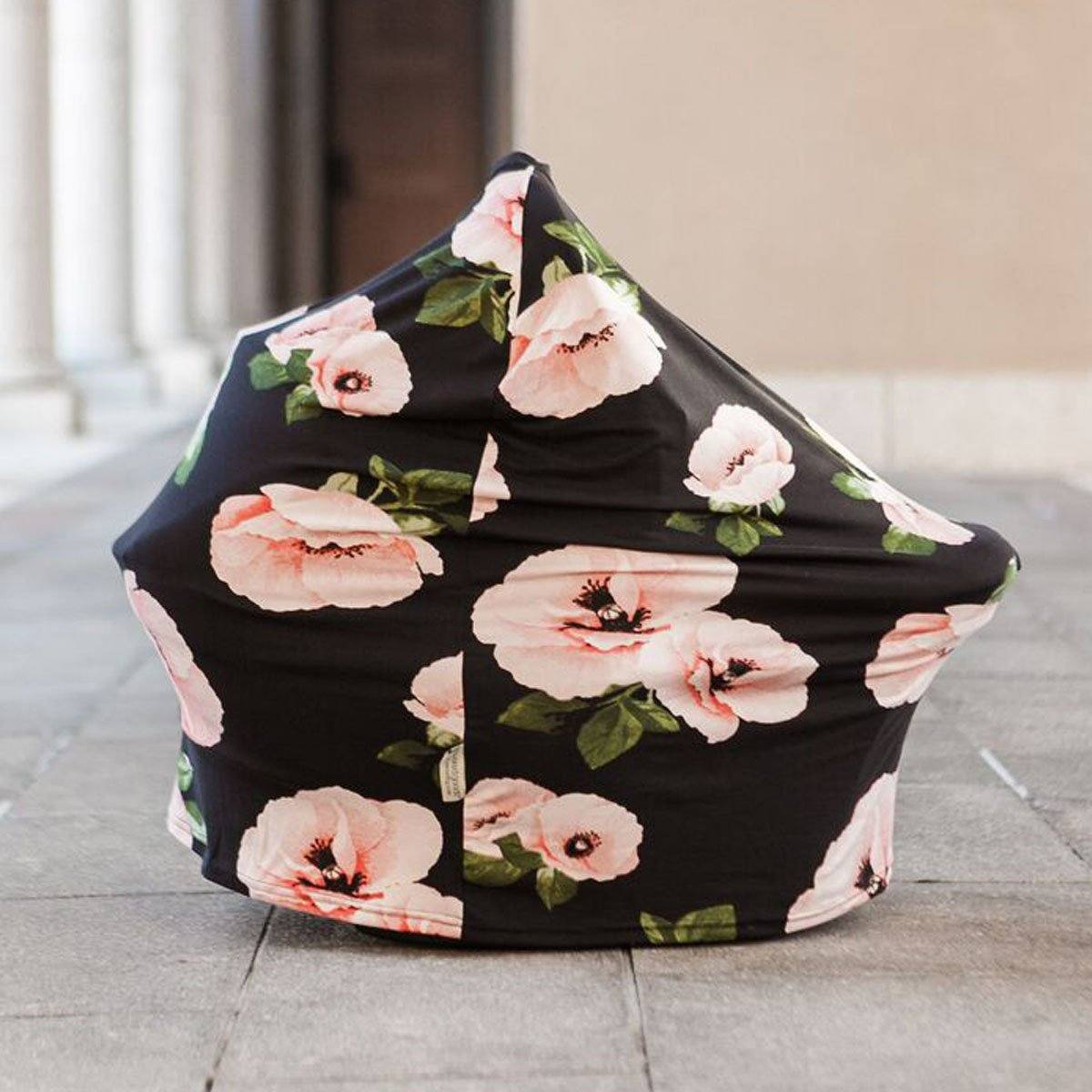 Four-in-one Nursing + Car Seat Cover - Poppies
